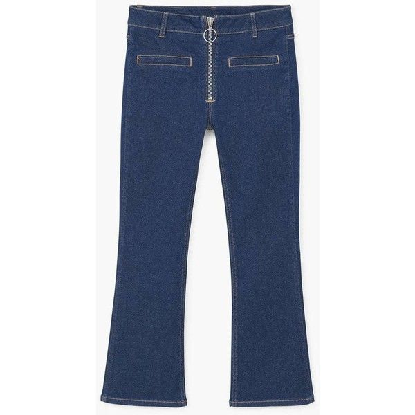 MANGO Jeans flare Wideleg (99 CAD) ❤ liked on Polyvore featuring jeans, wide leg jeans, mango jeans, wide leg flare jeans, wide leg blue jeans and flared jeans