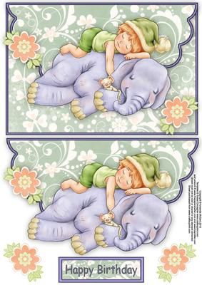 Having a little nap envelope card on Craftsuprint designed by Amanda McGee - A cute envelope card featuring a little boy having a nap on his friend the elephant.