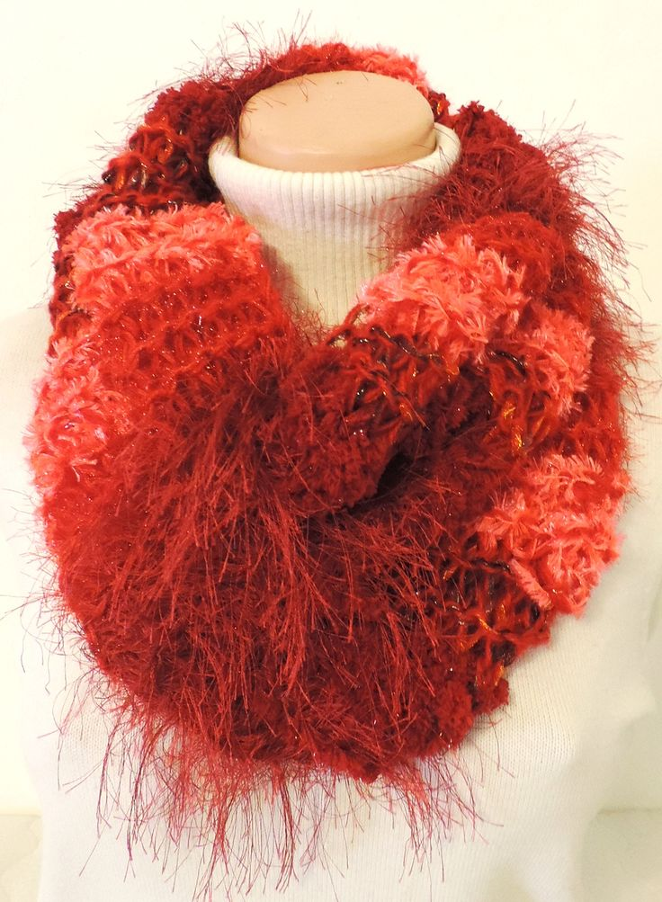 "Cowl, which you can wear around your neck. Thick and warm, many colors :-) Measurement: Scarflette length is ~ 23""x20"" (~ 60x52 cm.) Composition: - 10 % Wool, 20 % Acrylic, 35 % Micro Polyamide + 35 % Polyester -  red. Handmade with ♥ $11.72 USD"