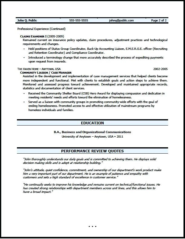 insurance resume examples claims examiner resume writer life