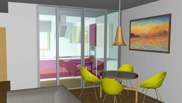 #lavorincasa : come suddividere la cucina dal soggiorno con una porta vetrata. La #progettazione del nostro architetto!