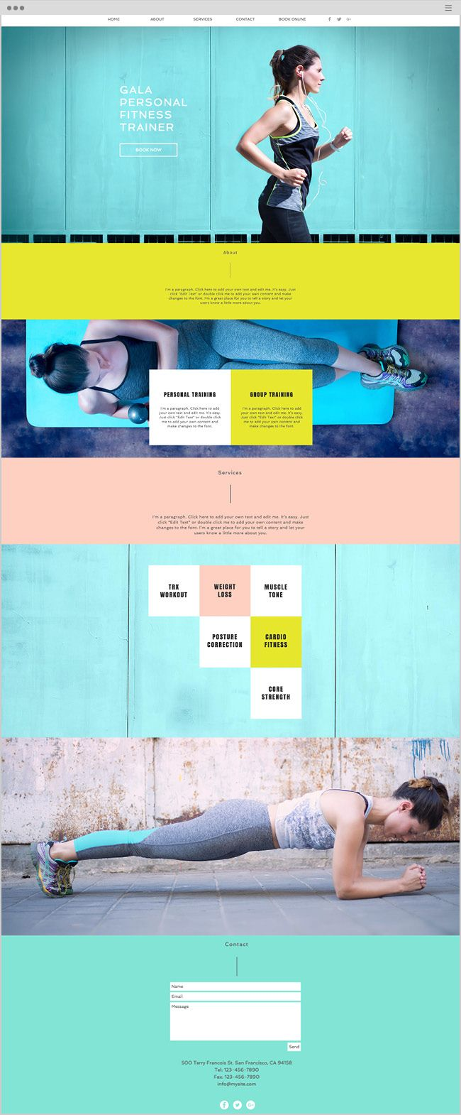 Solid color block pages with information paired with large bold photos w/ minimal type (ie just the stats or just a few words)