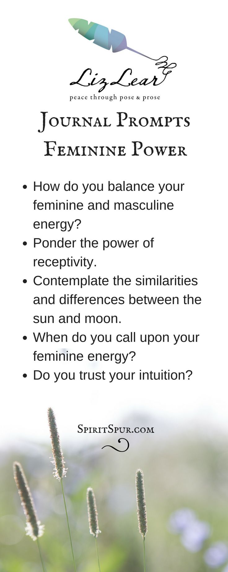 Yoga journal writing prompts from Liz Lear explore feminine power | free Cultivate Contentment guide with 20 yoga-inspired journal writing prompts | stress relief | yin yoga | divine feminine | girl power | moon yoga