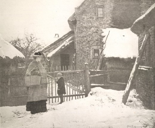 """Going To Market, A Winter Scene. 1887. From """"PICTURES FROM LIFE IN FIELD AND FEN"""" by Peter Henry Emerson"""