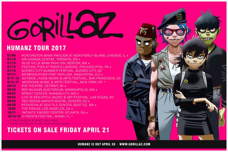Gorillaz Announce Humanz Tour 2017; First North American Tour In 7 Years
