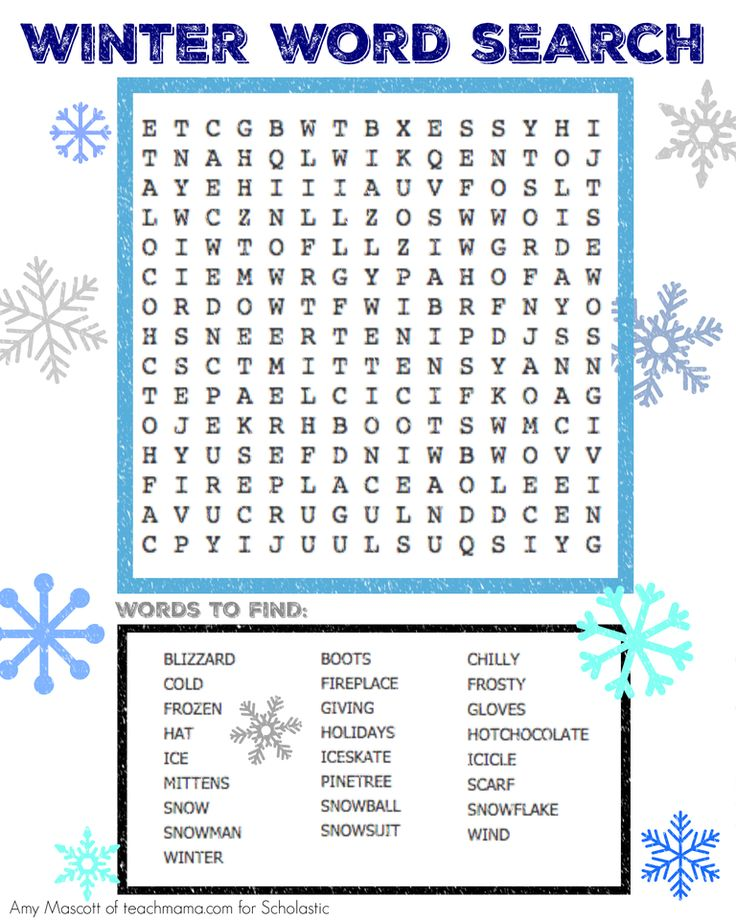 Print this free holiday word search for kids.