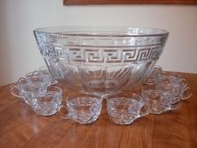 Heisey Greek Key 12 Piece Punch Bowl Set