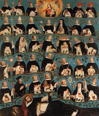 Blog del padre Fortea. Pintura muestra todos los santos dominicos que salieron como un árbol de la persona del fundador de la orden.