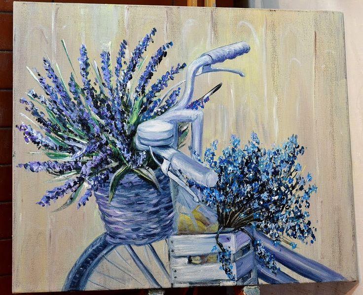 Как нарисовать велосипед с цветами. Картина в стиле Прованс акриловыми к...