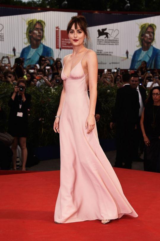 Dakota Johnson style file: Dakota Johnson in Prada at the 2015 Venice Film Festival