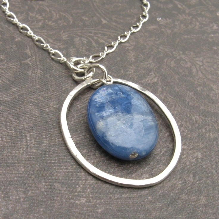 Kyanite and Sterling Silver Oval Necklace