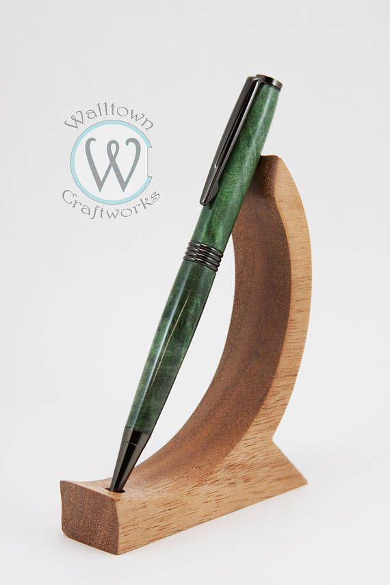 A beautiful Trimline Twist Pen is finished in Gun Metal paired with outstanding pieces of Green Buckeye Burl that was hand-turned, sanded and finished with a durable CA finish polished to a glass like finish for years of flawless use. Cyanoacrylate glue, or CA for short, is a