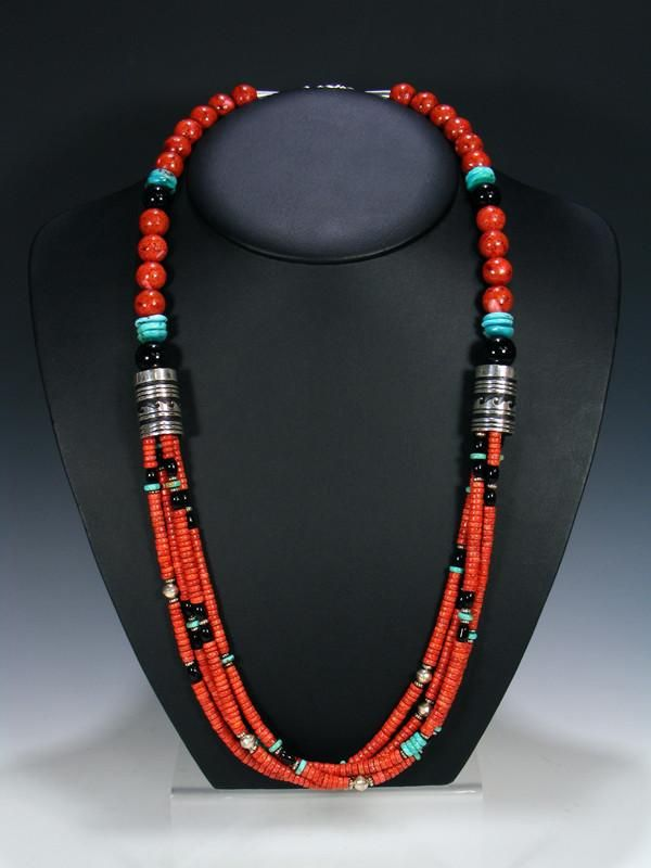 """Coral Turquoise and Onyx 30"""" Multi Strand Beaded Necklace"""