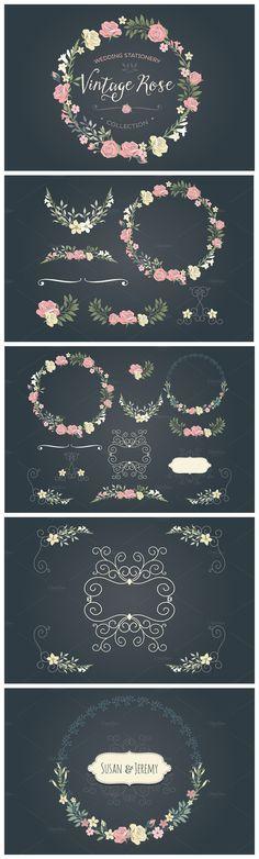 Vintage Rose wedding set  Vectores decorativos vintage para realizar artes gráficos. Uso constante de flores (idea tomada del romanticismo)