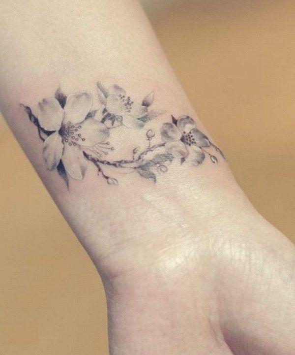 Cherry Blossom Tattoo Wrist Tattoos for Girls.