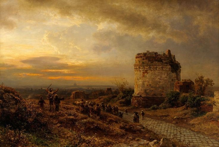 Pilgrims on Via Appia Oswald Achenbach - Date unknown