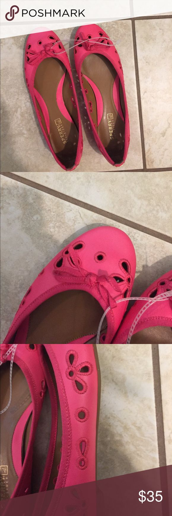 Pink sperry flats Pink Sperry flats. Never worn. Super comfortable. Sperry Shoes Flats & Loafers