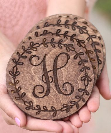 Love this Round Initial Coaster - Set of Four on #zulily! #zulilyfinds