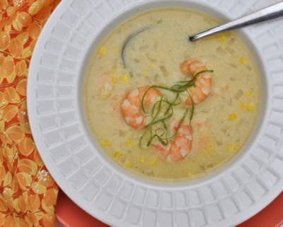ww Sweet-Corn Soup with Shrimp © Kitchen Parade, All Rights Reserved..     Substitute broccoli for the corn.