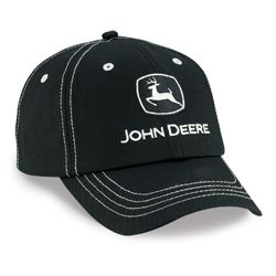 Black John Deere Hat with Silver Contrast Stitching