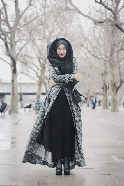 How much do you know about the Hijab and its cultural appropriation? | long gray coat + black dress + gray scarf