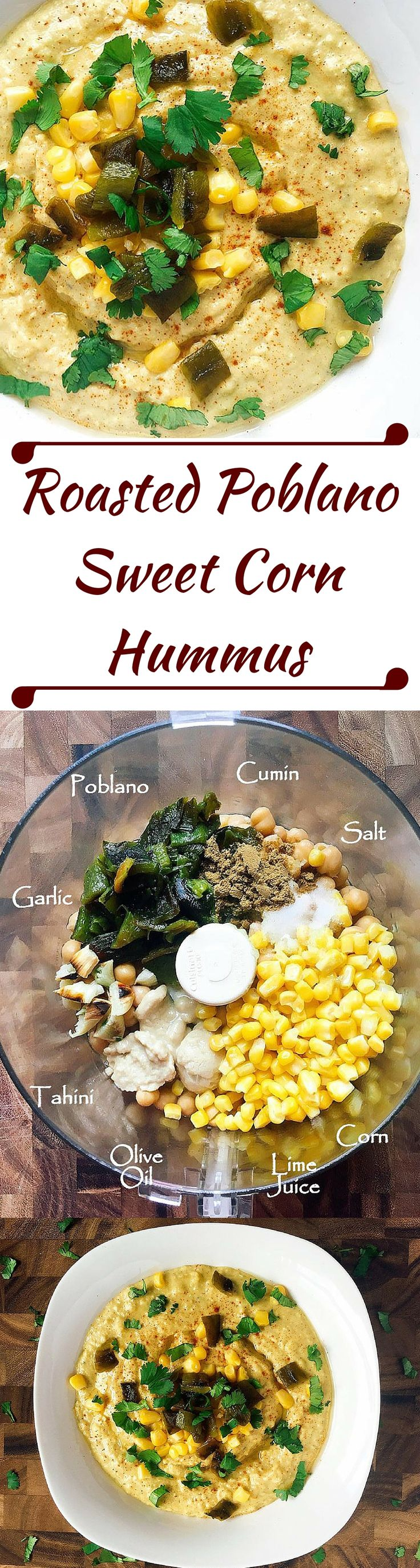 Don't buy hummus when it is so easy to make your own!  Ready in just a few minutes, this vegan hummus combines the smoky flavor of roasted Poblano peppers with sweet corn and lime juice to bring a Mexican twist to traditional hummus.   Three Olives Branch