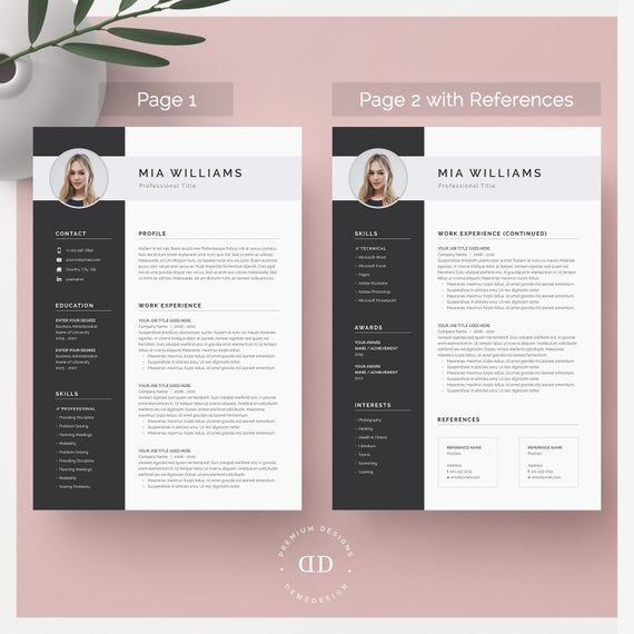 Resume Template Resume Template Word Resume With Photo Etsy Resume Cover Letter Template Resume Template Word Resume Template