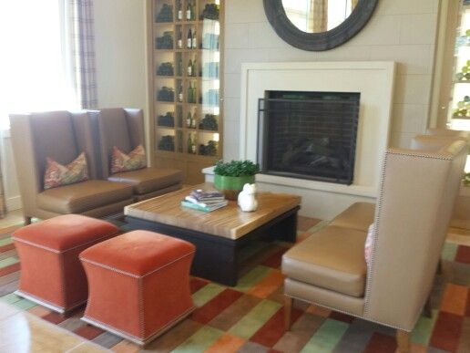 Fireplace and seating at Tastings Room