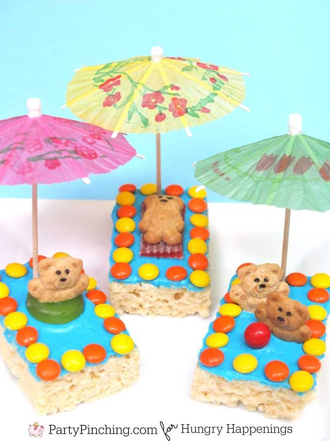 Fun summer treats - teddy grahams swimming in cereal treat pools.