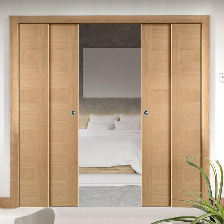 Quad Telescopic Pocket Oak Monaco Oak Veneer Doors - Prefinished & 130 best Telescopic Quad Pocket Doors images on Pinterest | Entrance ...