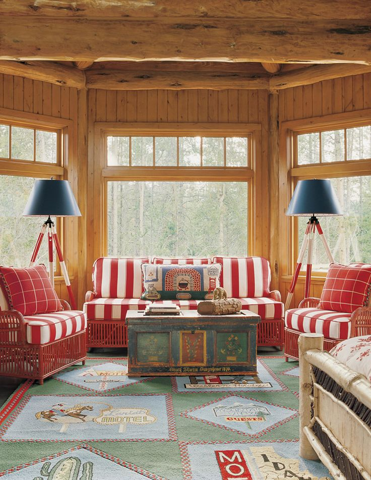 Porch idea with red and exposed beams | Outside & Sunporch Remodels