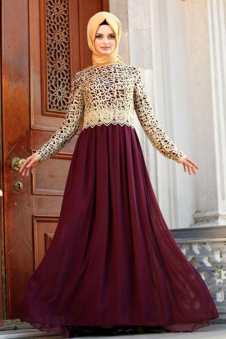 6e06e84192674 Nayla Collection Gold Dantelli Tesettür Abiye Elbise Modelleri - Moda  Tesettür Giyim