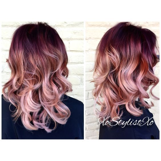 Red,rose gold blush sombre. So want to have this hair color: | preto ...