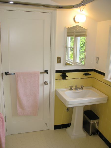 77 best bathroom ideas images on pinterest for Small yellow bathroom ideas