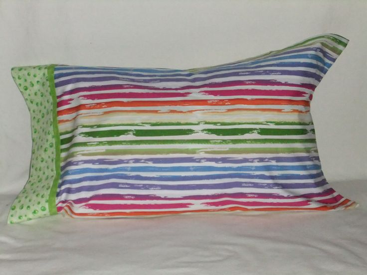 """STRIPES w Green Bubbles PILLOWCASE - KING/20"""" x 36"""" by KatiesCOVERS on Etsy"""
