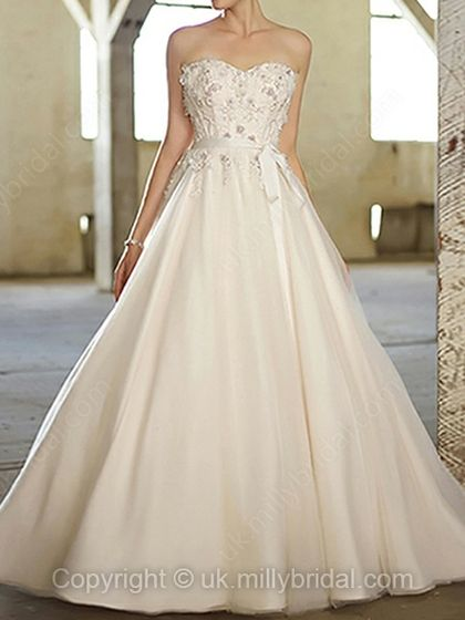 Ball Gown Scoop Tulle Satin Sweep Train Ivory Appliques Wedding Dresses -USD$243.78