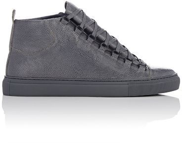 Balenciaga Men's Arena High-Top Sneakers-GREY, DARK GREY