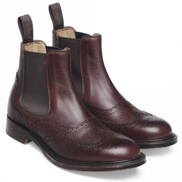 Cheaney Victoria R Ladies Wingcap Brogue Chelsea Boot in Burgundy Grain Leather