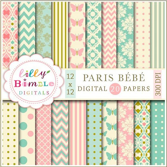 Paris Bebe Digital Papers for baby showers invites by LillyBimble, $5.00