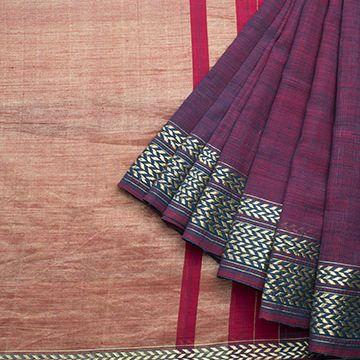 Handspun and Handwoven Khadi Cotton Sari available in Purple, Gold Colour Zari