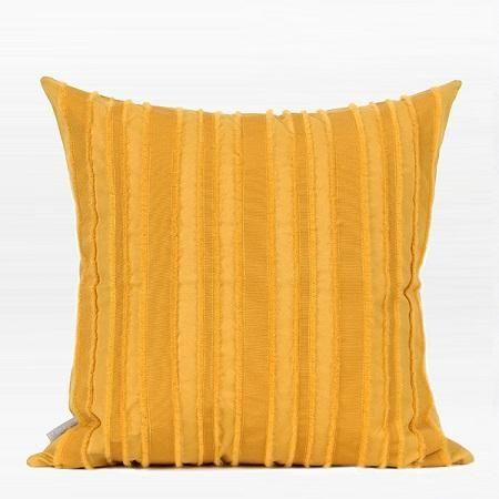 "Yellow Tassel Stripe Textured Pillow 20""X20"""