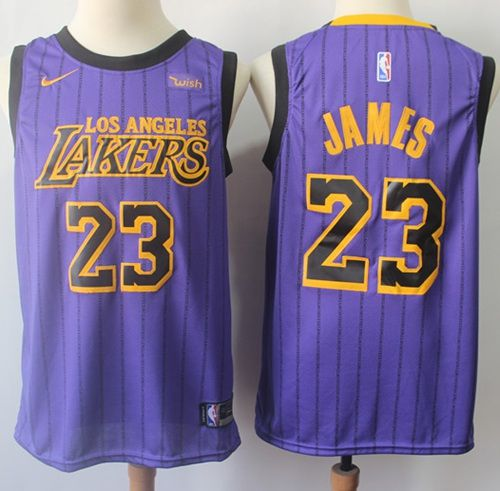 low priced f9136 ea42f Nike Lakers #23 LeBron James Purple NBA Swingman City ...