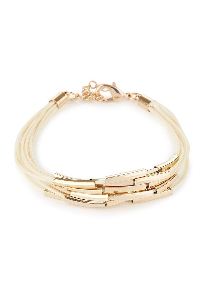 Beige and gold string bracelet