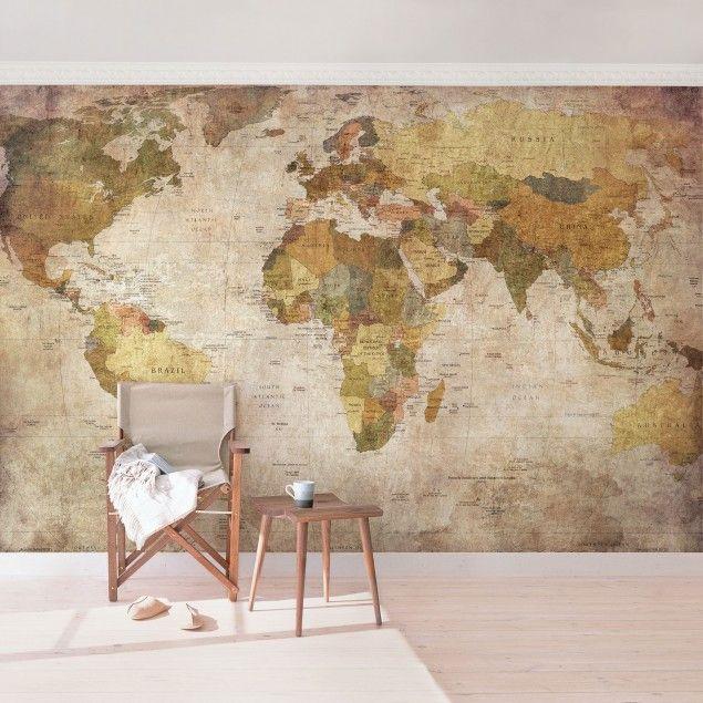 Vliestapete - Weltkarte - Fototapete Breit