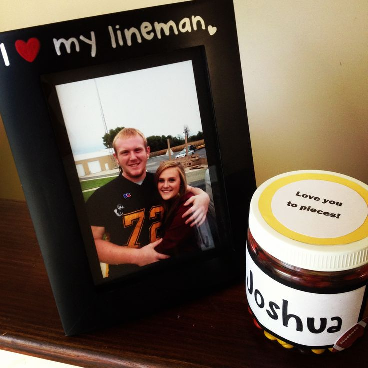 """So cute! one girl said: """"Gift for the boyfriend on his senior night for football<3 shows I love him and know he'll miss his football career."""""""