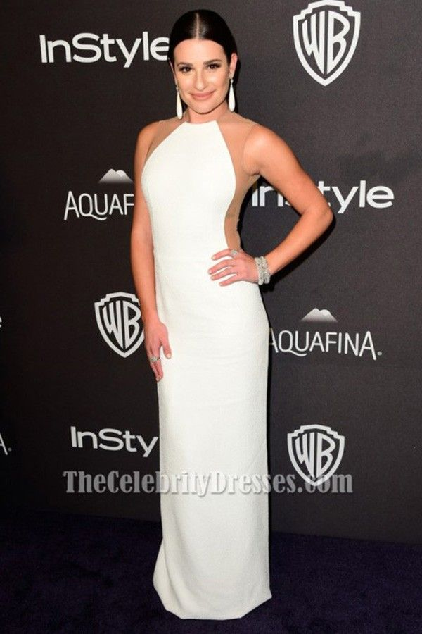 Lea Michele White Evening Gown 73rd Annual Golden Globe Awards Post-Party Dresses - TheCelebrityDresses