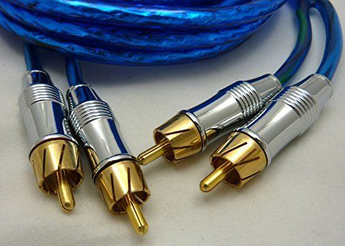 Crankin' Power Twisted Pair Dual Male RCA Blue Audio Patch Cable Cord, 6 Ft Shielded