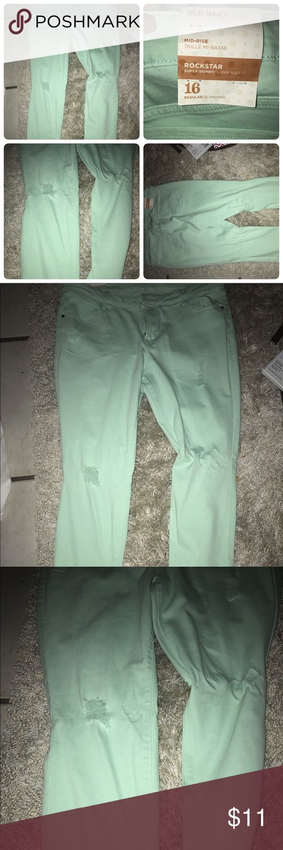 Brand new pair of Old Navy Stretch Jeans New Pair of Old Navy Size 16 Mint Green Jeans. With a few hints if distressed style tips on the front. Pants Skinny