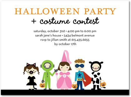 Kids Halloween party theme invites
