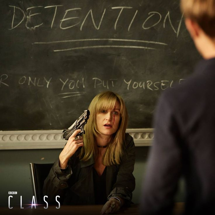 Miss Quill (Katherine Kelly) & Charlie (Greg Austin) - promo pic -- Class.S01E06 - ''Detained'' (Part 6 of 8)  [Original air date: Nov. 19, 2016] Description: ''Trapped in detention, dark truths emerge and fractures form in the friendship group.'' (Class - BBC Three Series) (Doctor Who - BBC Series) source: Class ; episode page: http://www.bbc.co.uk/programmes/p04f1ytz ; streaming on BBC iPlayer [http://www.bbc.co.uk/iplayer/episode/p04f1ytz]